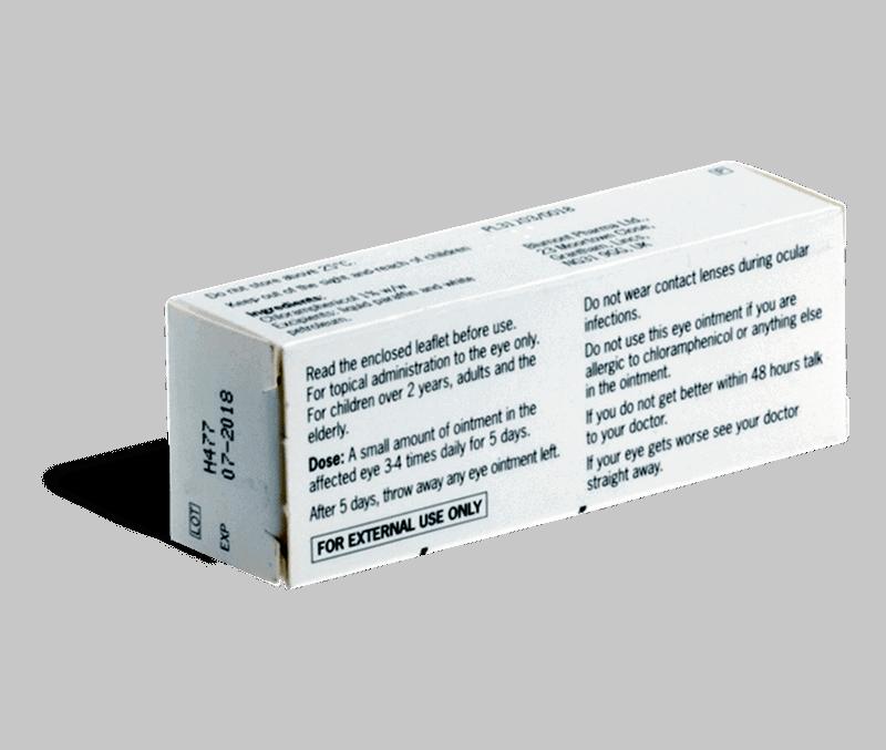 Chlooramfenicol achterkant